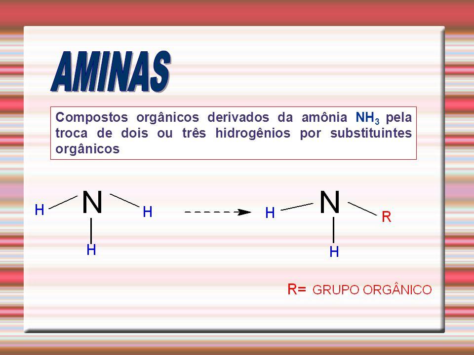 Compostos orgânicos derivados da amônia NH 3 pela troca de dois ou três hidrogênios por substituintes orgânicos