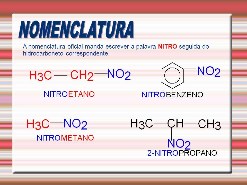 A nomenclatura oficial manda escrever a palavra NITRO seguida do hidrocarboneto correspondente.