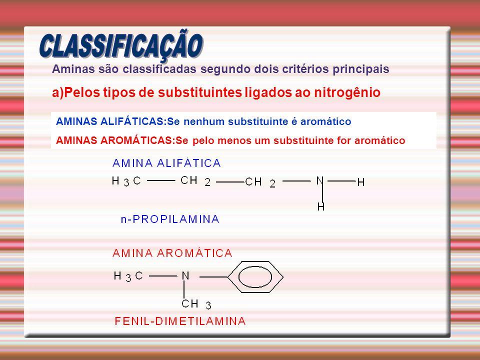 AMINAS ALIFÁTICAS:Se nenhum substituinte é aromático AMINAS AROMÁTICAS:Se pelo menos um substituinte for aromático Aminas são classificadas segundo do
