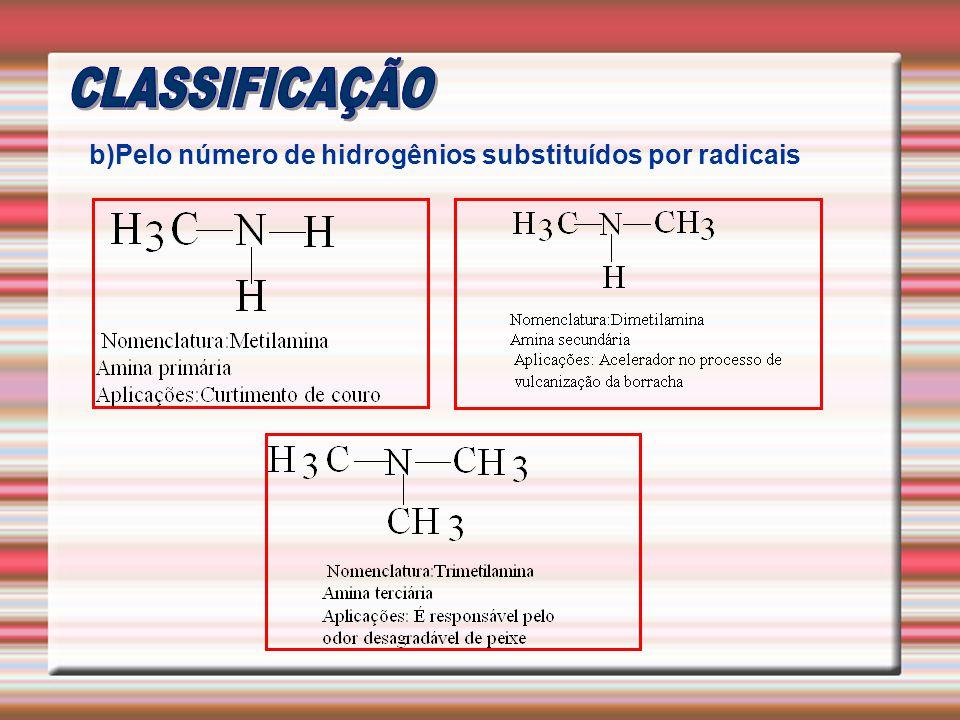 b)Pelo número de hidrogênios substituídos por radicais