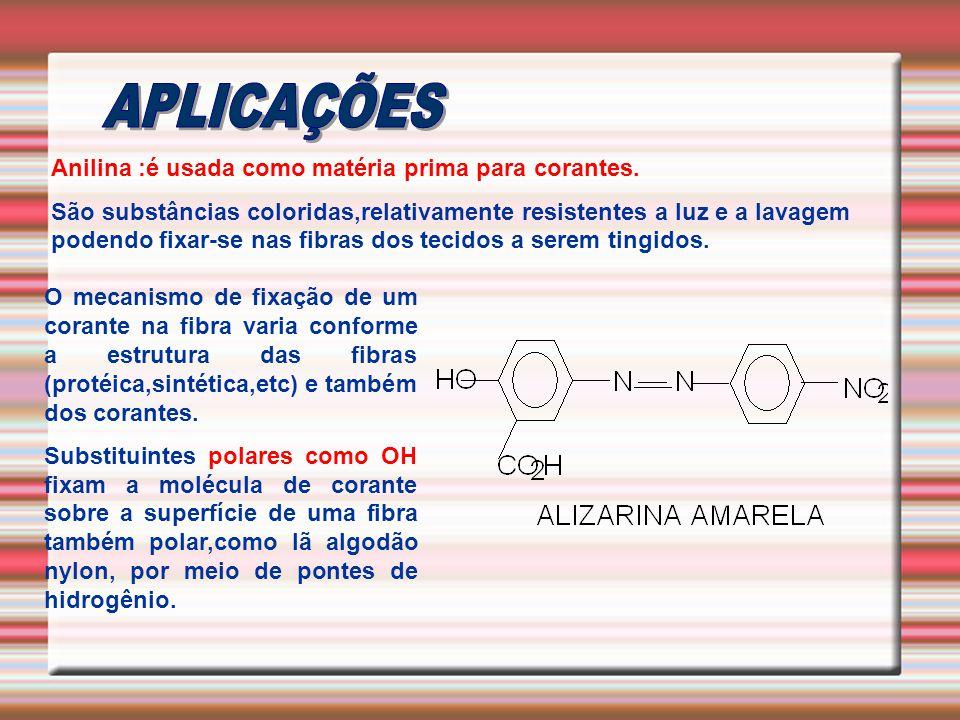 Anilina :é usada como matéria prima para corantes. São substâncias coloridas,relativamente resistentes a luz e a lavagem podendo fixar-se nas fibras d