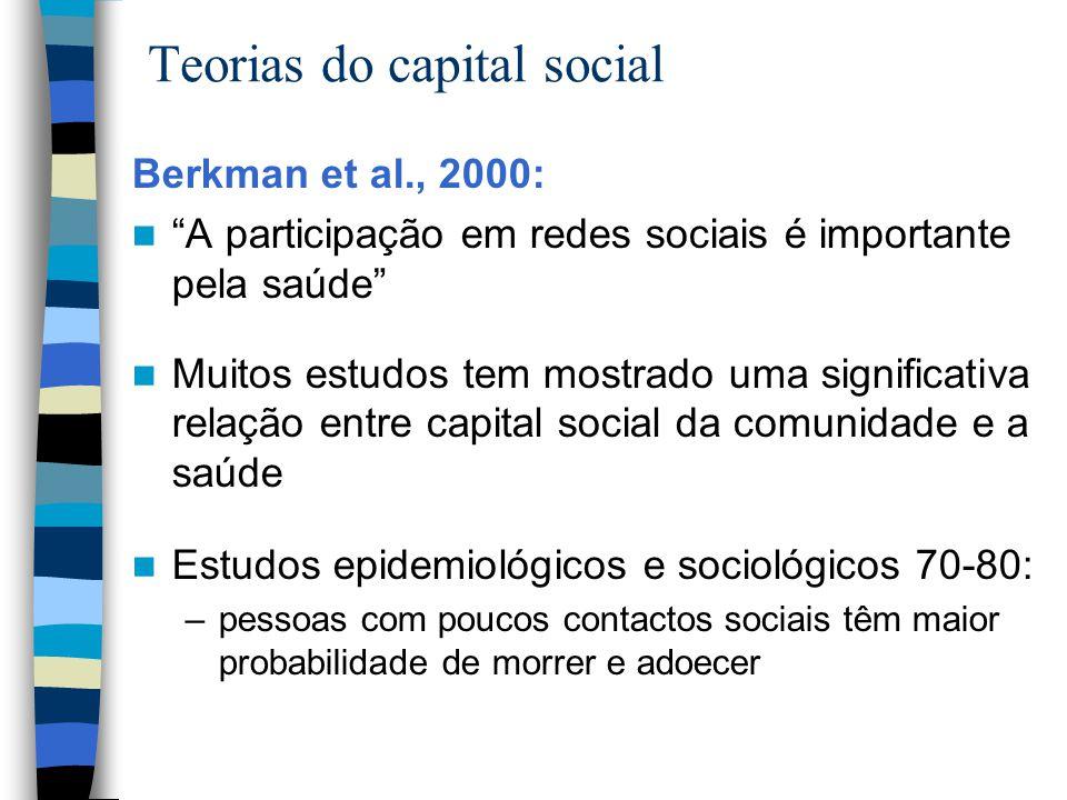 """Teorias do capital social Berkman et al., 2000: """"A participação em redes sociais é importante pela saúde"""" Muitos estudos tem mostrado uma significativ"""