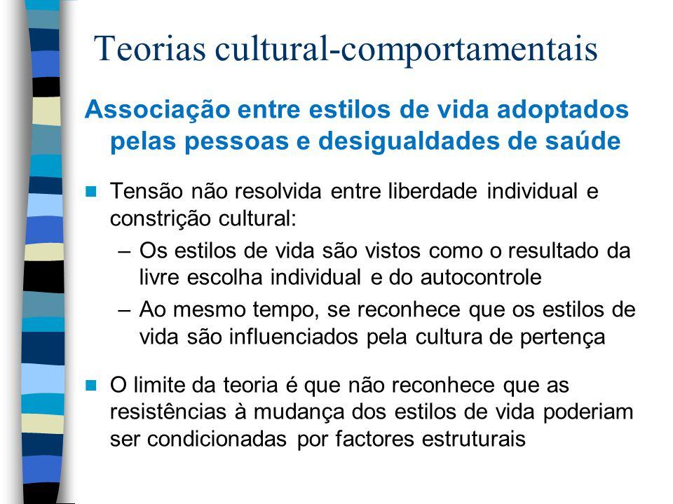 Teorias cultural-comportamentais Associação entre estilos de vida adoptados pelas pessoas e desigualdades de saúde Tensão não resolvida entre liberdad