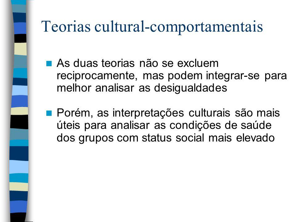 Teorias cultural-comportamentais As duas teorias não se excluem reciprocamente, mas podem integrar-se para melhor analisar as desigualdades Porém, as interpretações culturais são mais úteis para analisar as condições de saúde dos grupos com status social mais elevado