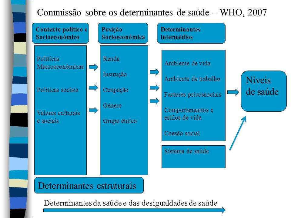 Políticas Macroeconómicas Politicas sociais Valores culturais e sociais Contexto político e Socioeconómico Renda Instrução Ocupação Género Grupo étnic