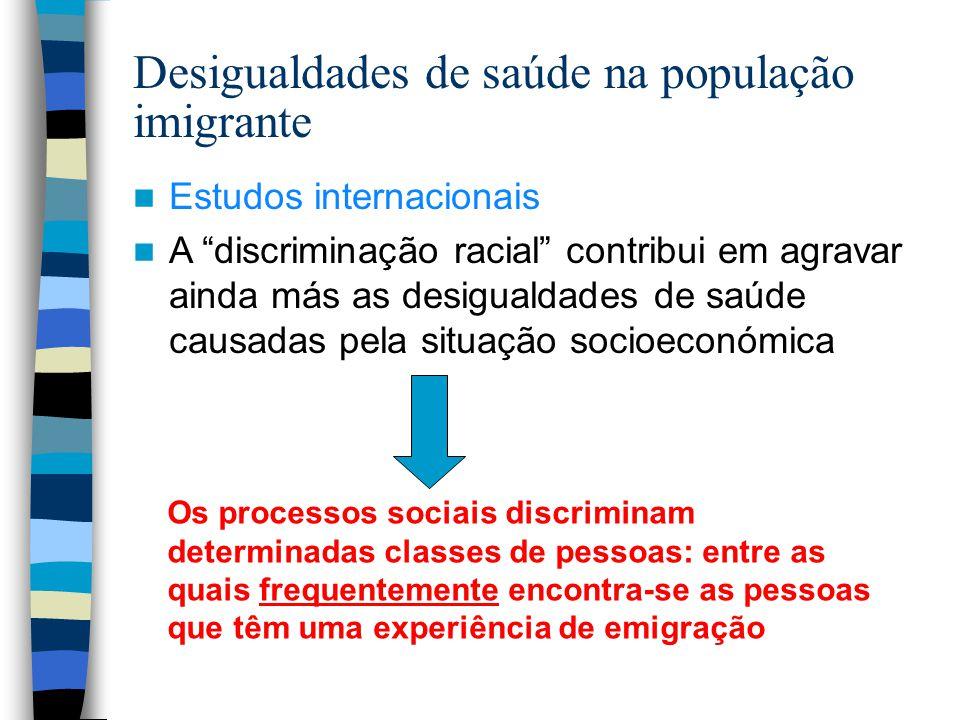 """Desigualdades de saúde na população imigrante Estudos internacionais A """"discriminação racial"""" contribui em agravar ainda más as desigualdades de saúde"""