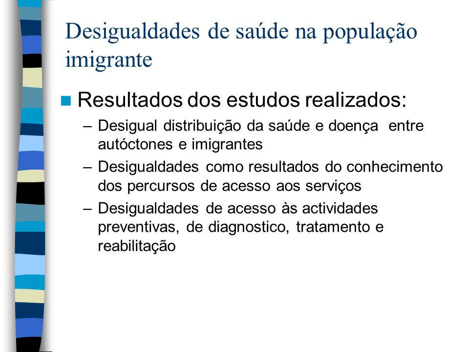 Desigualdades de saúde na população imigrante Resultados dos estudos realizados: –Desigual distribuição da saúde e doença entre autóctones e imigrante