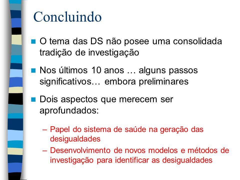 Concluindo O tema das DS não posee uma consolidada tradição de investigação Nos últimos 10 anos … alguns passos significativos… embora preliminares Do