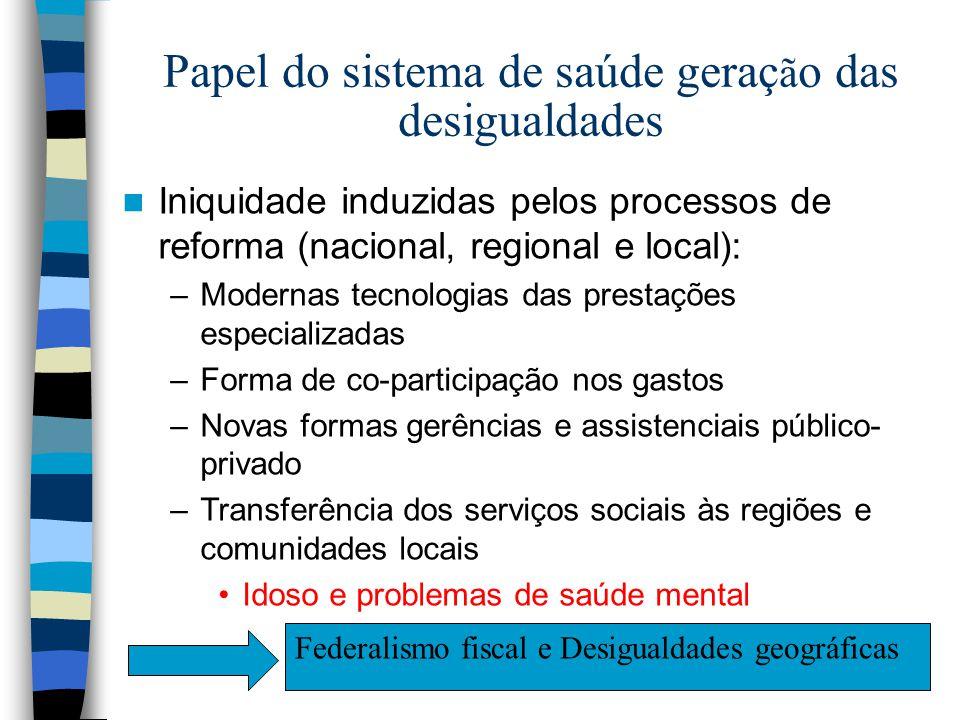 Papel do sistema de saúde geraç ã o das desigualdades Iniquidade induzidas pelos processos de reforma (nacional, regional e local): –Modernas tecnolog