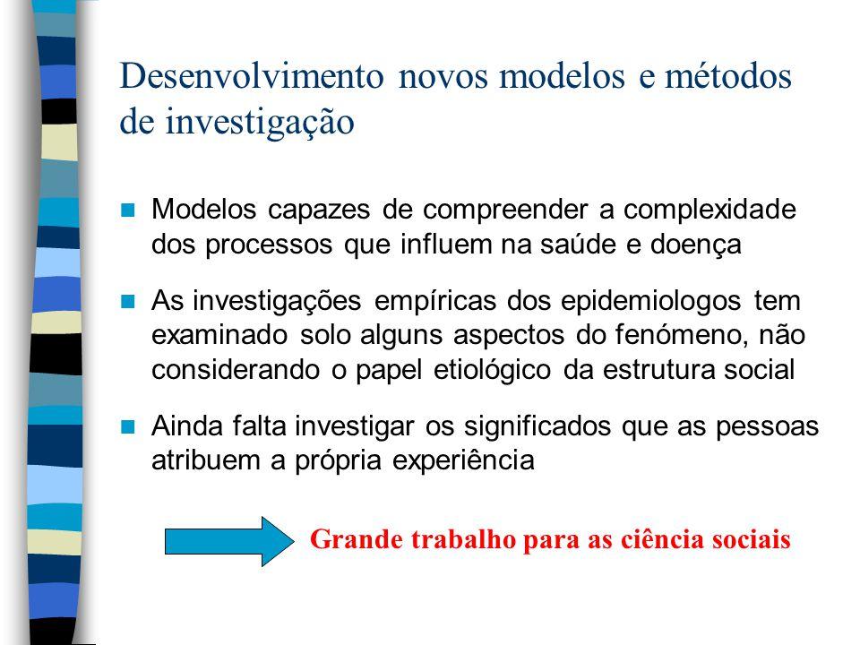 Desenvolvimento novos modelos e métodos de investigação Modelos capazes de compreender a complexidade dos processos que influem na saúde e doença As i