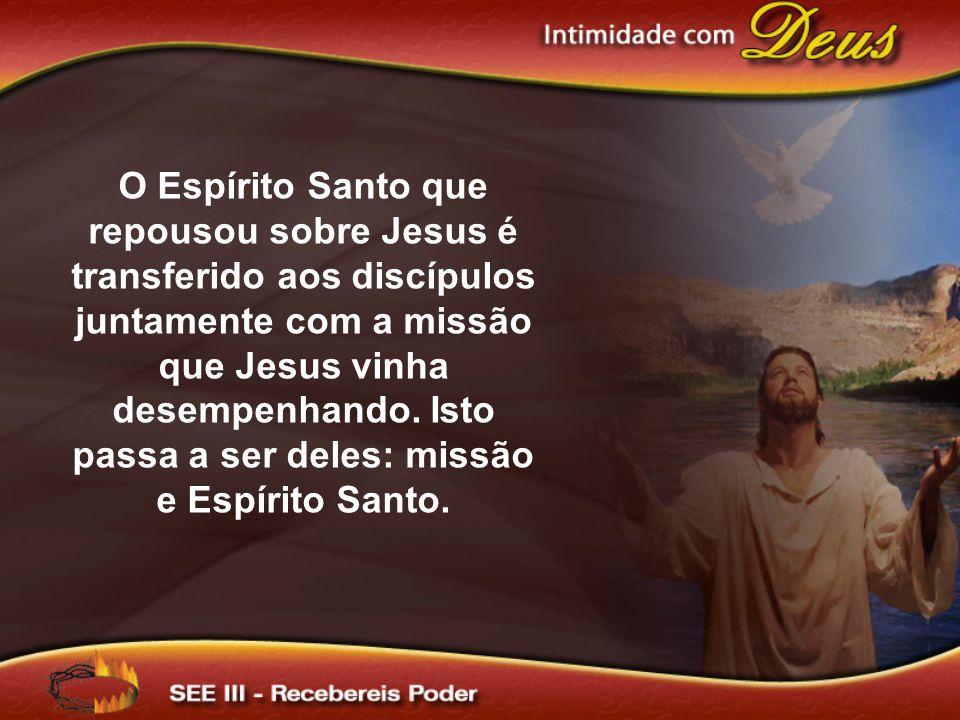 O Espírito Santo que repousou sobre Jesus é transferido aos discípulos juntamente com a missão que Jesus vinha desempenhando.