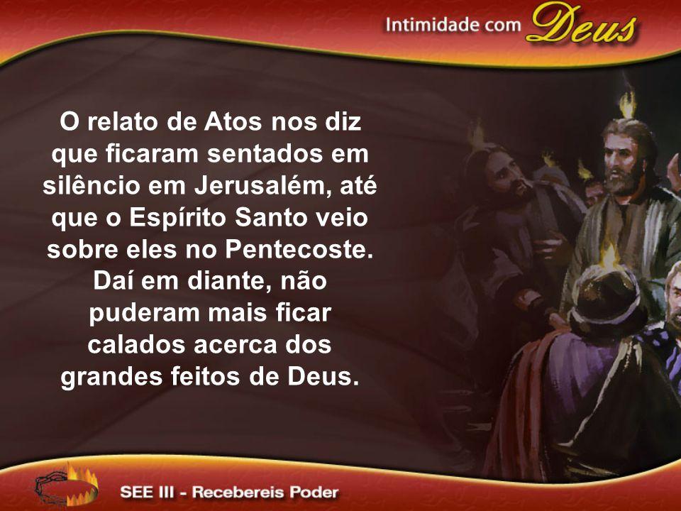 O relato de Atos nos diz que ficaram sentados em silêncio em Jerusalém, até que o Espírito Santo veio sobre eles no Pentecoste. Daí em diante, não pud