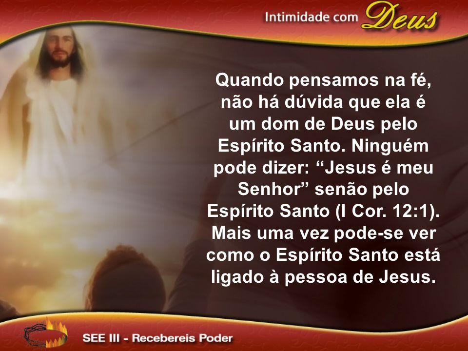 """Quando pensamos na fé, não há dúvida que ela é um dom de Deus pelo Espírito Santo. Ninguém pode dizer: """"Jesus é meu Senhor"""" senão pelo Espírito Santo"""