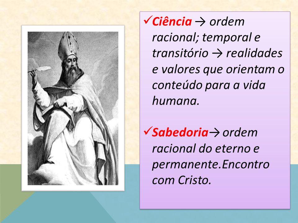 Ciência → ordem racional; temporal e transitório → realidades e valores que orientam o conteúdo para a vida humana. Sabedoria→ ordem racional do etern
