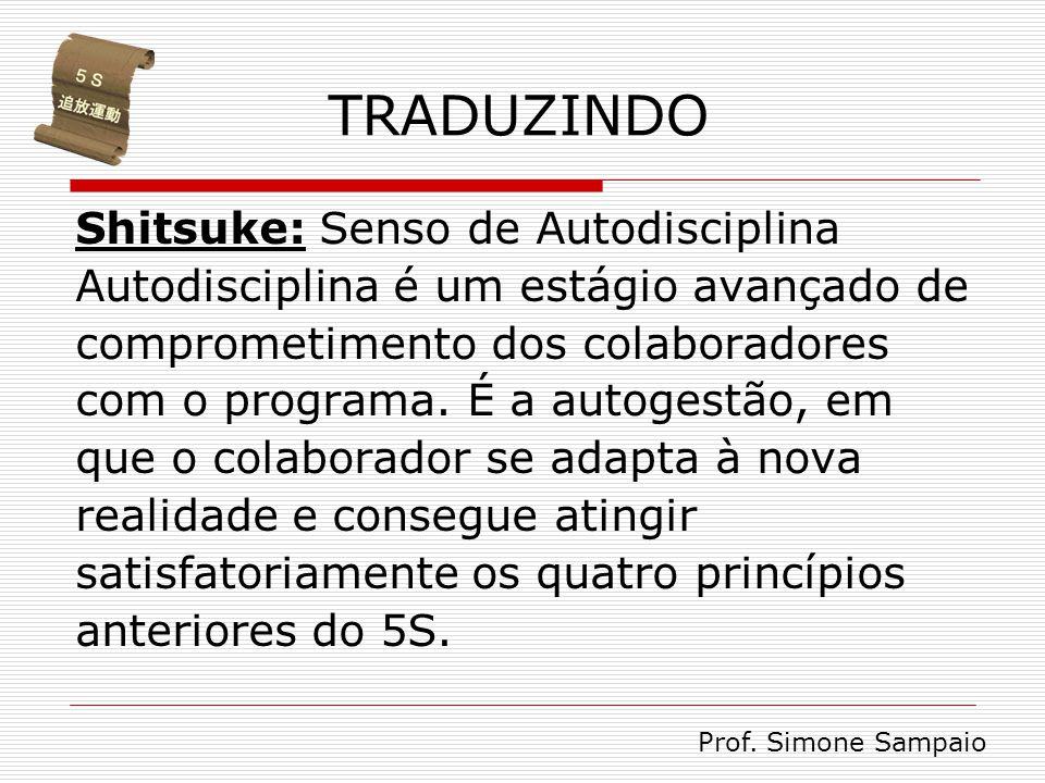 TRADUZINDO Shitsuke: Senso de Autodisciplina Autodisciplina é um estágio avançado de comprometimento dos colaboradores com o programa. É a autogestão,