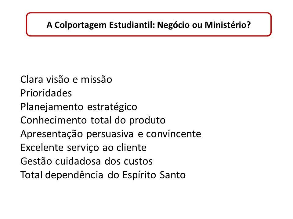 A Colportagem Estudiantil: Negócio ou Ministério? Clara visão e missão Prioridades Planejamento estratégico Conhecimento total do produto Apresentação