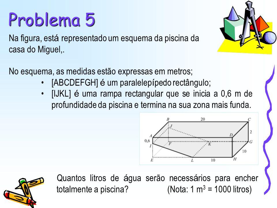 Na figura, est á representado um esquema da piscina da casa do Miguel,. No esquema, as medidas estão expressas em metros; [ABCDEFGH] é um paralelep í