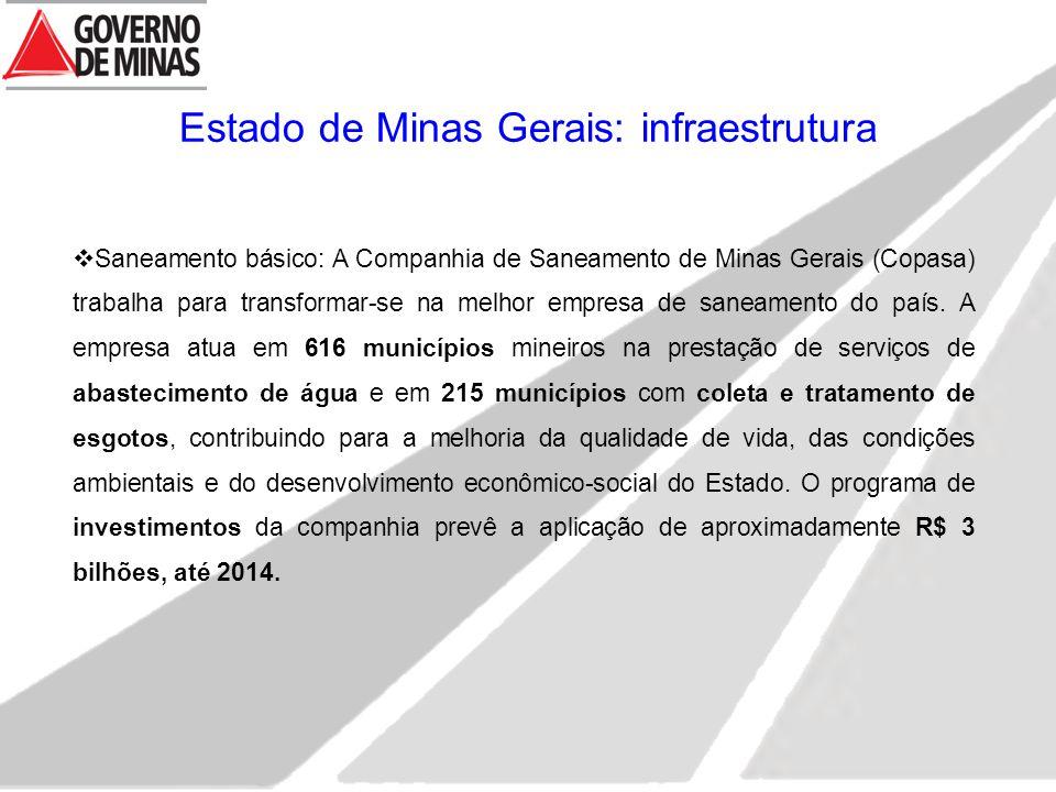 Estado de Minas Gerais: infraestrutura  Saneamento básico: A Companhia de Saneamento de Minas Gerais (Copasa) trabalha para transformar-se na melhor empresa de saneamento do país.