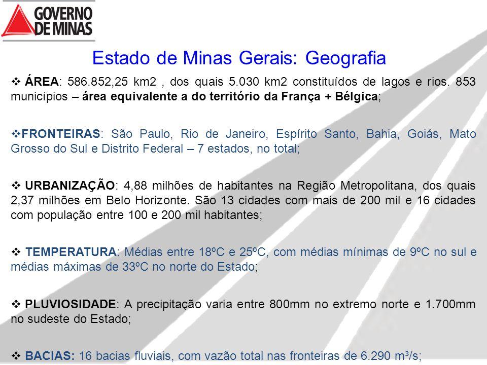 Estado de Minas Gerais: Geografia  ÁREA: 586.852,25 km2, dos quais 5.030 km2 constituídos de lagos e rios. 853 municípios – área equivalente a do ter