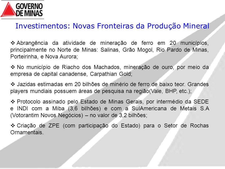 Investimentos: Novas Fronteiras da Produção Mineral  Abrangência da atividade de mineração de ferro em 20 municípios, principalmente no Norte de Mina