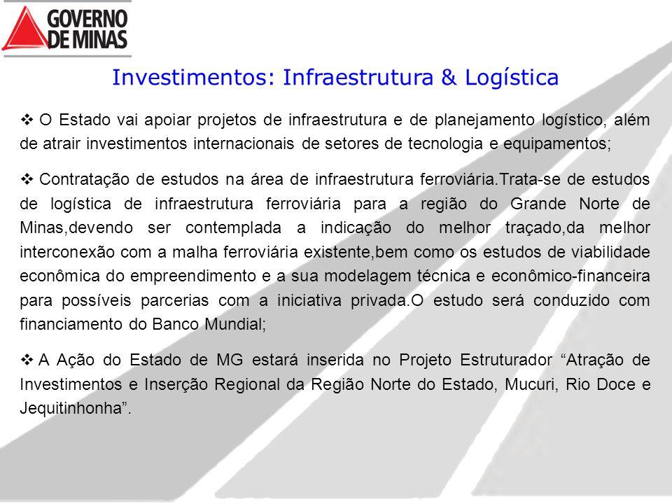 Investimentos: Infraestrutura & Logística  O Estado vai apoiar projetos de infraestrutura e de planejamento logístico, além de atrair investimentos internacionais de setores de tecnologia e equipamentos;  Contratação de estudos na área de infraestrutura ferroviária.Trata-se de estudos de logística de infraestrutura ferroviária para a região do Grande Norte de Minas,devendo ser contemplada a indicação do melhor traçado,da melhor interconexão com a malha ferroviária existente,bem como os estudos de viabilidade econômica do empreendimento e a sua modelagem técnica e econômico-financeira para possíveis parcerias com a iniciativa privada.O estudo será conduzido com financiamento do Banco Mundial;  A Ação do Estado de MG estará inserida no Projeto Estruturador Atração de Investimentos e Inserção Regional da Região Norte do Estado, Mucuri, Rio Doce e Jequitinhonha .