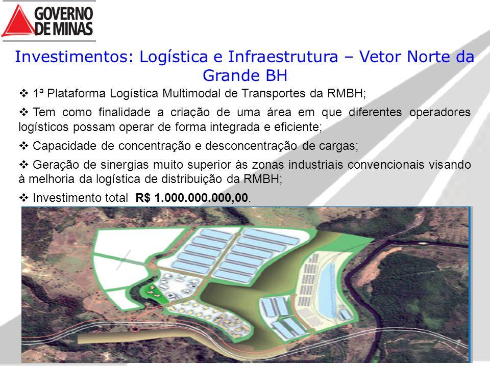 Investimentos: Logística e Infraestrutura – Vetor Norte da Grande BH  1ª Plataforma Logística Multimodal de Transportes da RMBH;  Tem como finalidade a criação de uma área em que diferentes operadores logísticos possam operar de forma integrada e eficiente;  Capacidade de concentração e desconcentração de cargas;  Geração de sinergias muito superior às zonas industriais convencionais visando à melhoria da logística de distribuição da RMBH;  Investimento total R$ 1.000.000.000,00.