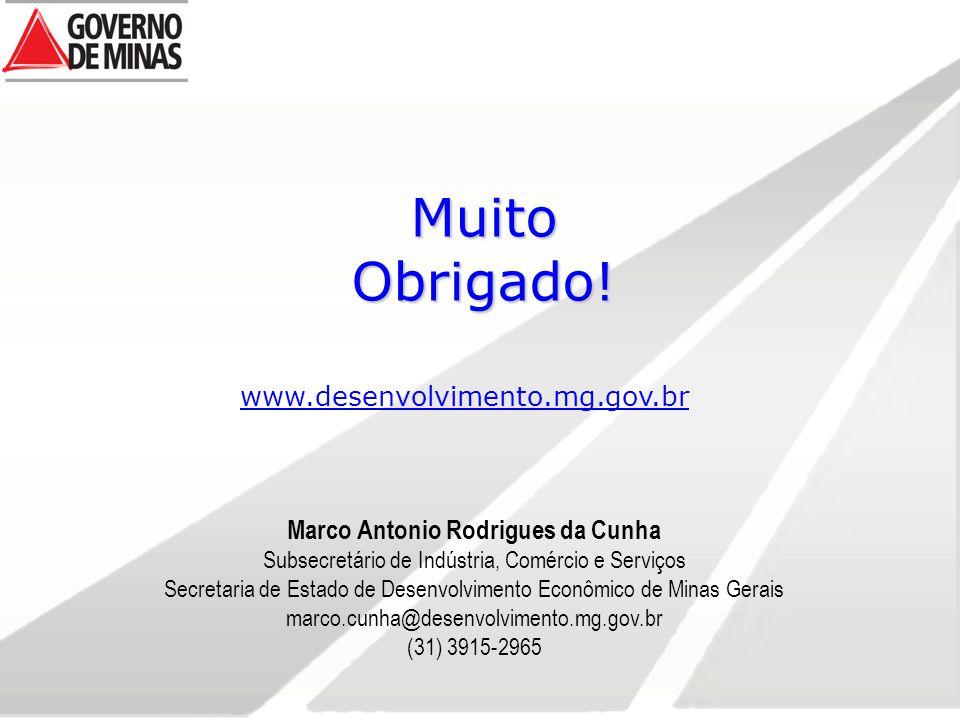 Muito Obrigado! www.desenvolvimento.mg.gov.br Marco Antonio Rodrigues da Cunha Subsecretário de Indústria, Comércio e Serviços Secretaria de Estado de