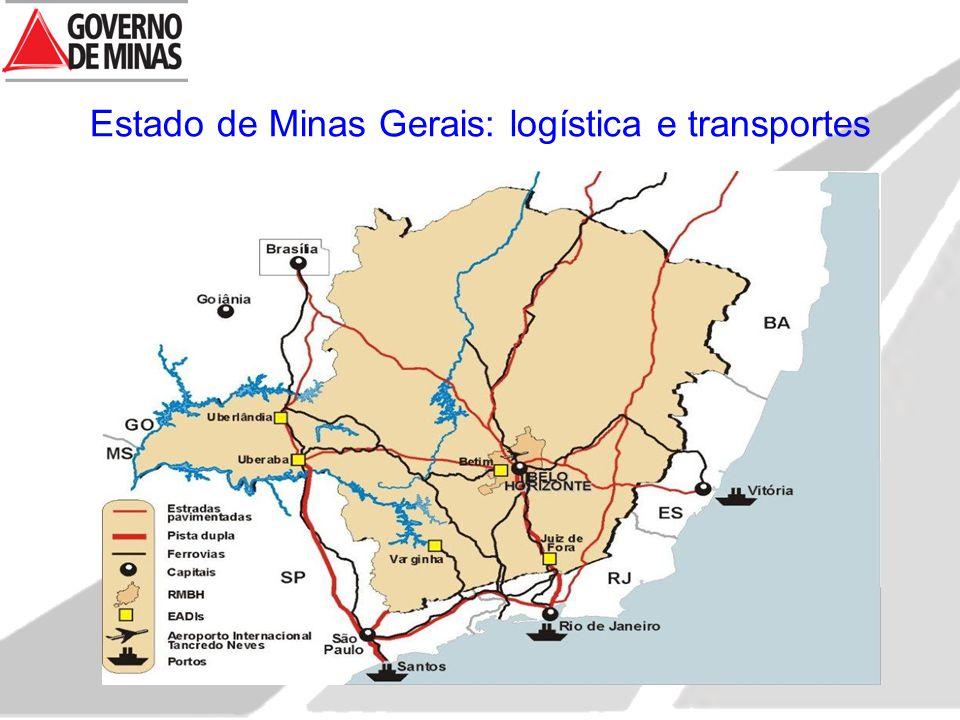 Estado de Minas Gerais: logística e transportes