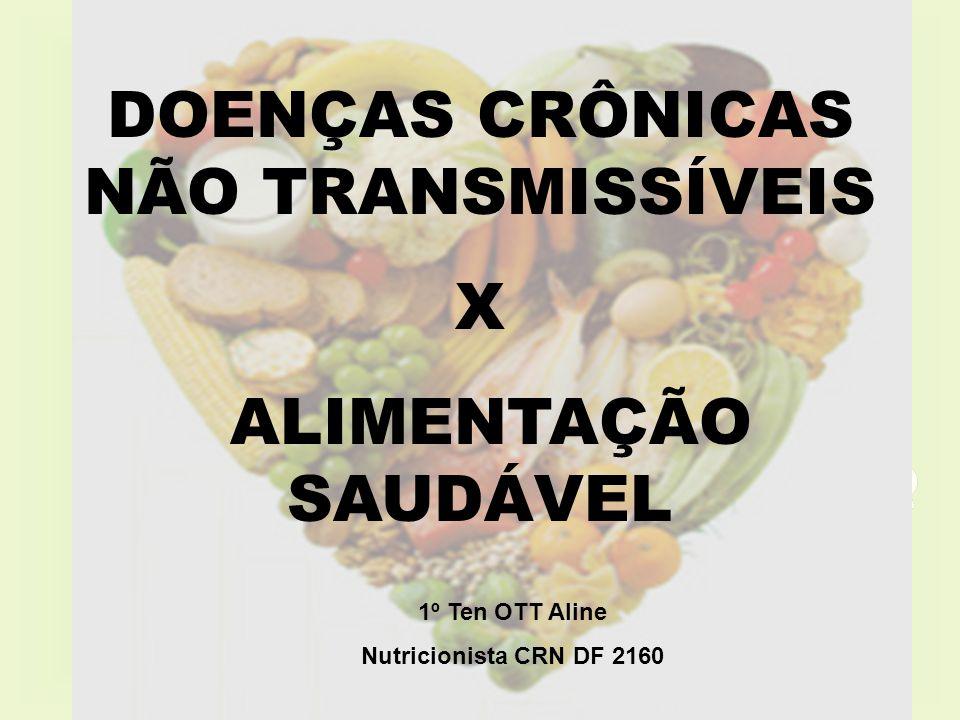DOENÇAS CRÔNICAS NÃO TRANSMISSÍVEIS X ALIMENTAÇÃO SAUDÁVEL 1º Ten OTT Aline Nutricionista CRN DF 2160