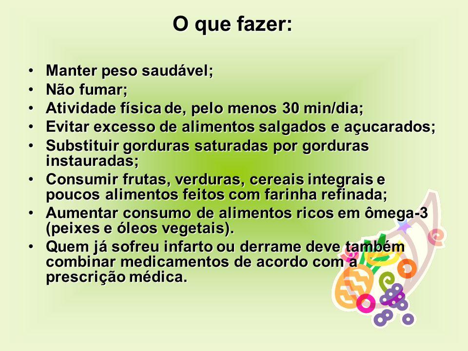 O que fazer: O que fazer: Manter peso saudável;Manter peso saudável; Não fumar;Não fumar; Atividade física de, pelo menos 30 min/dia;Atividade física