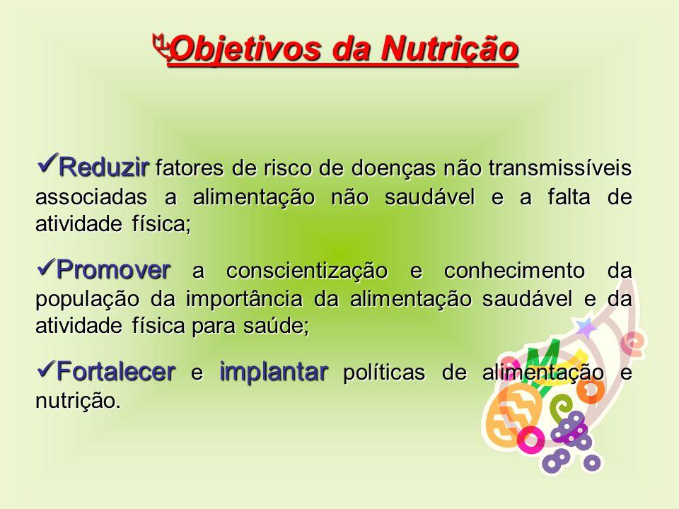  Objetivos da Nutrição Reduzir fatores de risco de doenças não transmissíveis associadas a alimentação não saudável e a falta de atividade física; Re