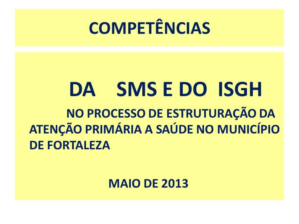 COMPETÊNCIAS DA SMS E DO ISGH NO PROCESSO DE ESTRUTURAÇÃO DA ATENÇÃO PRIMÁRIA A SAÚDE NO MUNICÍPIO DE FORTALEZA MAIO DE 2013