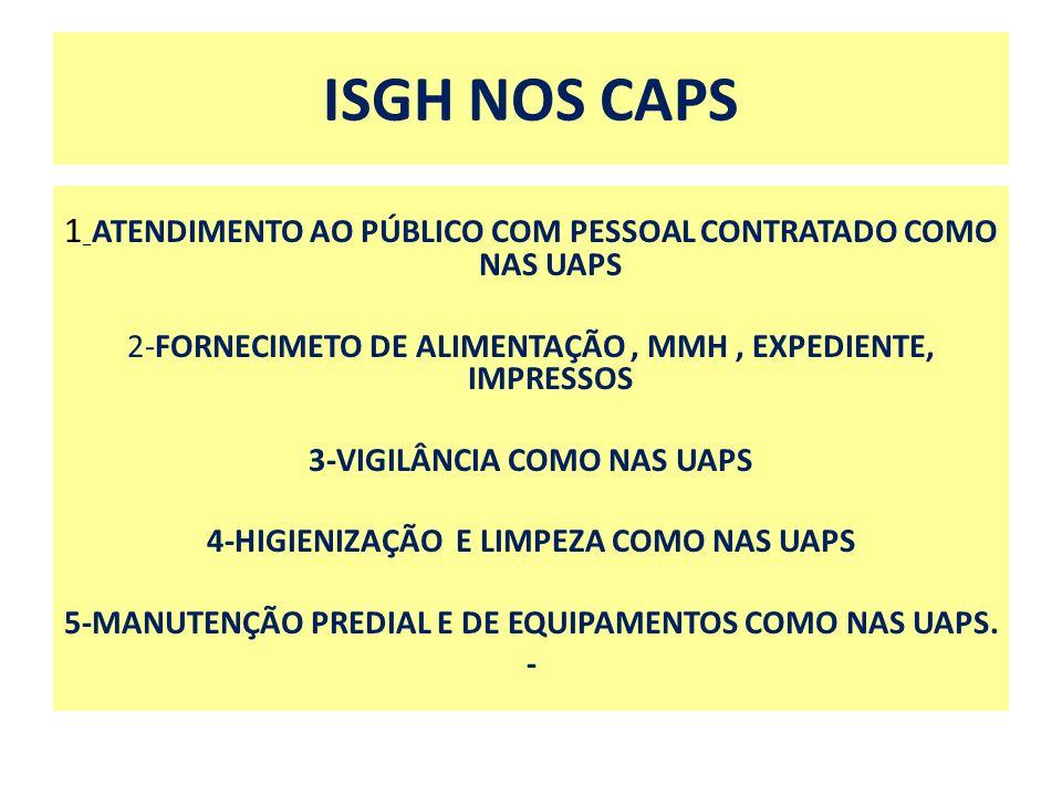 ISGH NOS CAPS 1 _ ATENDIMENTO AO PÚBLICO COM PESSOAL CONTRATADO COMO NAS UAPS 2-FORNECIMETO DE ALIMENTAÇÃO, MMH, EXPEDIENTE, IMPRESSOS 3-VIGILÂNCIA CO