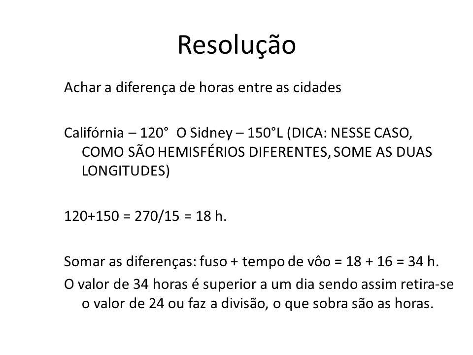 Resolução Achar a diferença de horas entre as cidades Califórnia – 120° O Sidney – 150°L (DICA: NESSE CASO, COMO SÃO HEMISFÉRIOS DIFERENTES, SOME AS DUAS LONGITUDES) 120+150 = 270/15 = 18 h.
