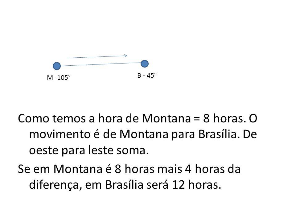 Como temos a hora de Montana = 8 horas.O movimento é de Montana para Brasília.