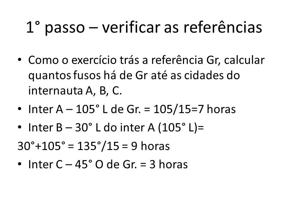 1° passo – verificar as referências Como o exercício trás a referência Gr, calcular quantos fusos há de Gr até as cidades do internauta A, B, C.