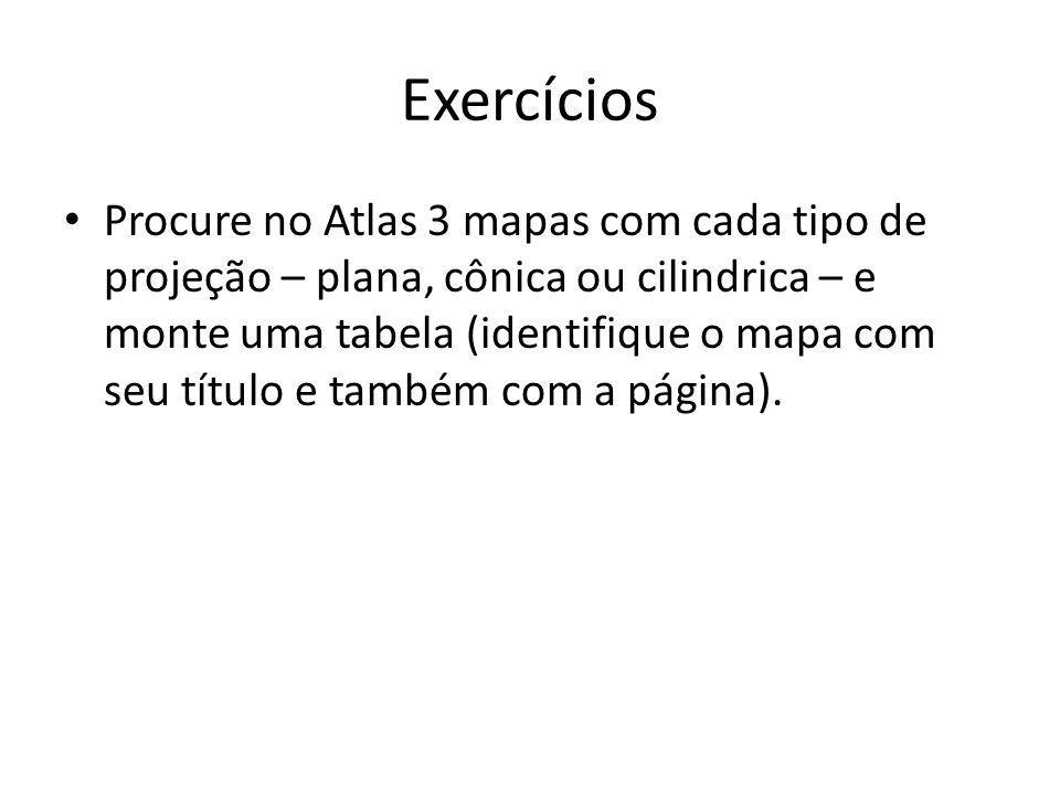 Exercícios Procure no Atlas 3 mapas com cada tipo de projeção – plana, cônica ou cilindrica – e monte uma tabela (identifique o mapa com seu título e também com a página).