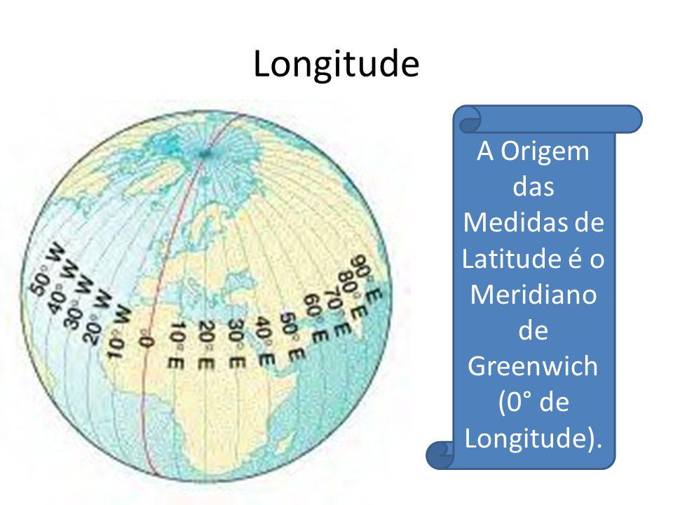 Longitude A Origem das Medidas de Latitude é o Meridiano de Greenwich (0° de Longitude).