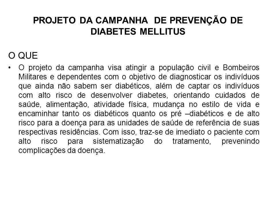 PROJETO DA CAMPANHA DE PREVENÇÃO DE DIABETES MELLITUS O QUE O projeto da campanha visa atingir a população civil e Bombeiros Militares e dependentes c