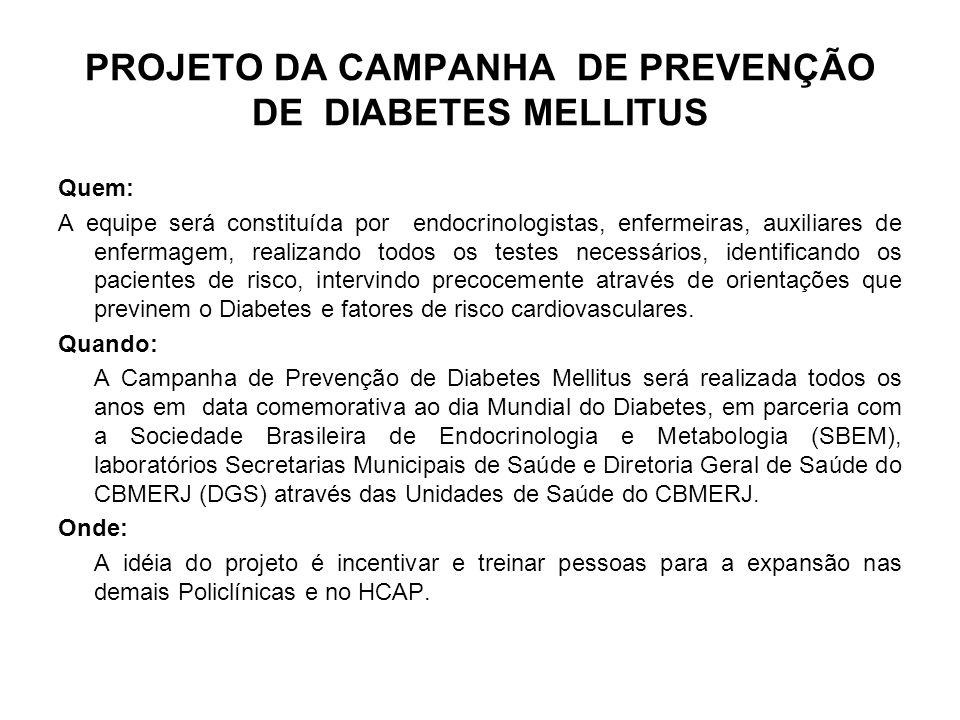 PROJETO DA CAMPANHA DE PREVENÇÃO DE DIABETES MELLITUS Quem: A equipe será constituída por endocrinologistas, enfermeiras, auxiliares de enfermagem, re