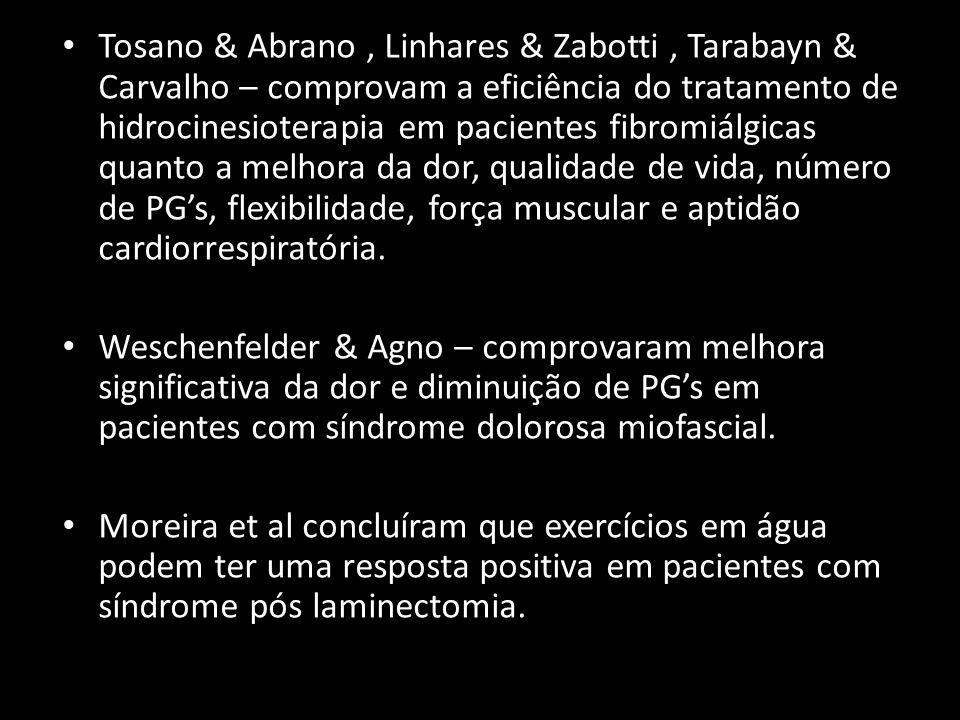 Tosano & Abrano, Linhares & Zabotti, Tarabayn & Carvalho – comprovam a eficiência do tratamento de hidrocinesioterapia em pacientes fibromiálgicas qua