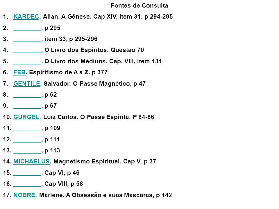 Fontes de Consulta 1.KARDEC, Allan. A Gênese. Cap XIV, item 31, p 294-295KARDEC 2.________, p 295________ 3.________, item 33, p 295-296________ 4.___
