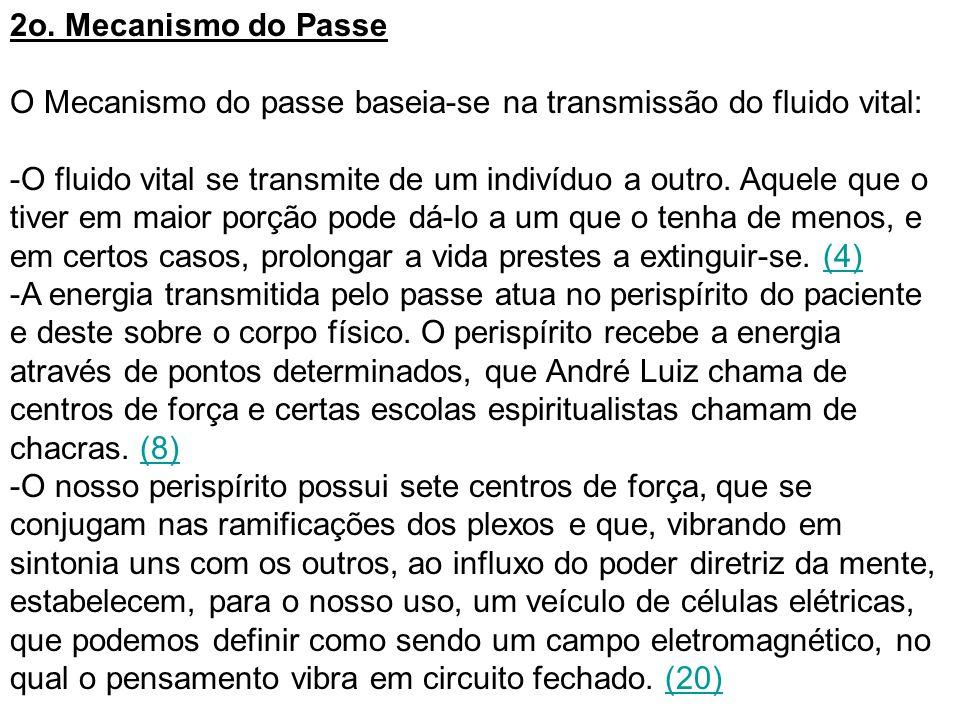 2o. Mecanismo do Passe O Mecanismo do passe baseia-se na transmissão do fluido vital: -O fluido vital se transmite de um indivíduo a outro. Aquele que
