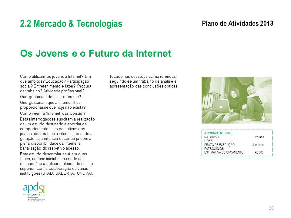 Os Jovens e o Futuro da Internet Como utilizam os jovens a Internet? Em que âmbitos? Educação? Participação social? Entretenimento e lazer? Procura de