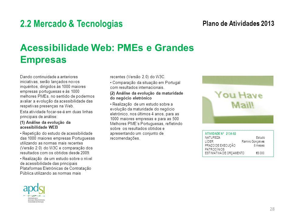 Acessibilidade Web: PMEs e Grandes Empresas Dando continuidade a anteriores iniciativas, serão lançados novos inquéritos, dirigidos às 1000 maiores em