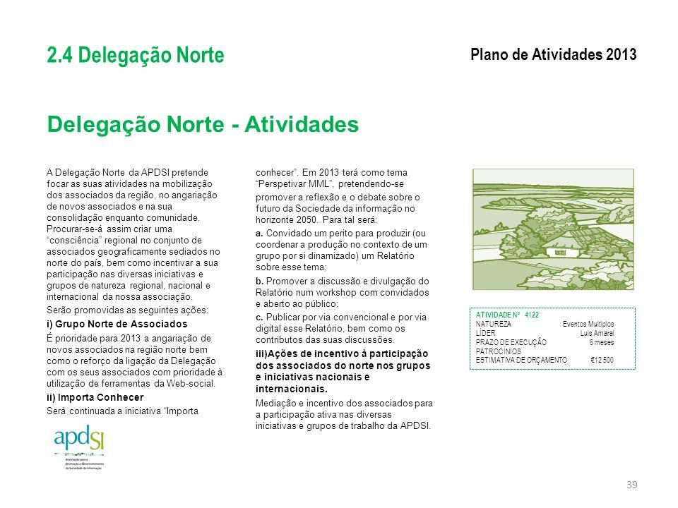 Delegação Norte - Atividades A Delegação Norte da APDSI pretende focar as suas atividades na mobilização dos associados da região, no angariação de no