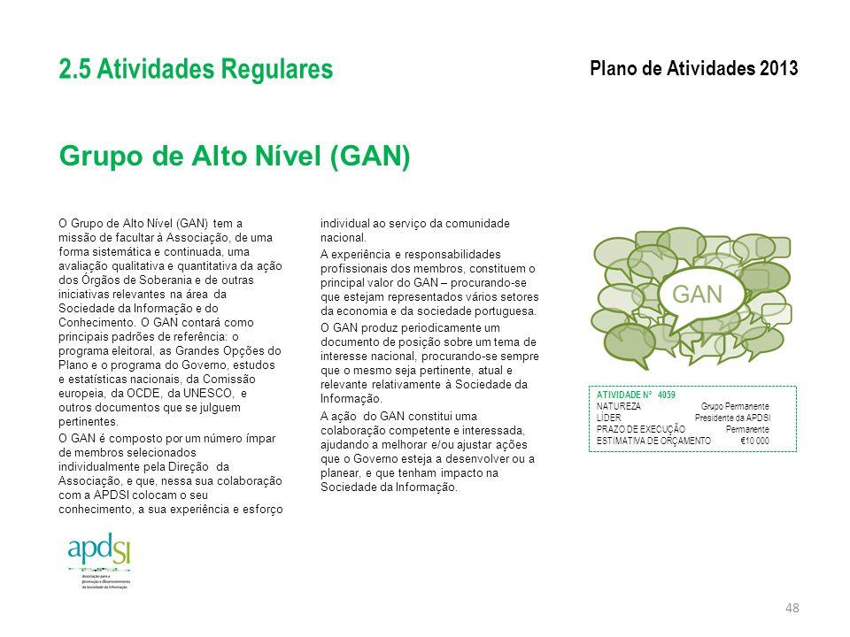 Grupo de Alto Nível (GAN) O Grupo de Alto Nível (GAN) tem a missão de facultar à Associação, de uma forma sistemática e continuada, uma avaliação qual