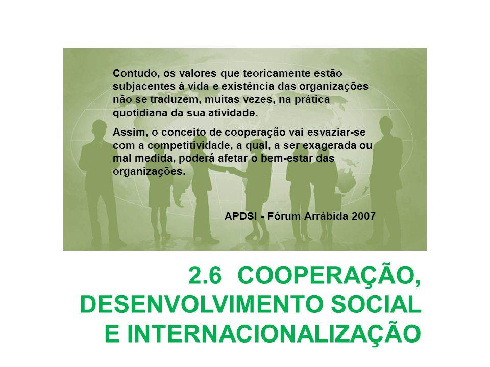 2.6COOPERAÇÃO, DESENVOLVIMENTO SOCIAL E INTERNACIONALIZAÇÃO Contudo, os valores que teoricamente estão subjacentes à vida e existência das organizaçõe