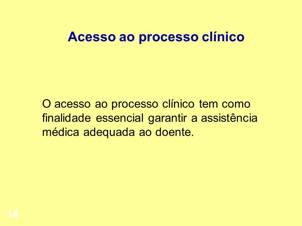 14 Acesso ao processo clínico O acesso ao processo clínico tem como finalidade essencial garantir a assistência médica adequada ao doente.