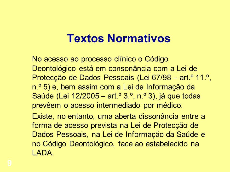 Textos Normativos No acesso ao processo clínico o Código Deontológico está em consonância com a Lei de Protecção de Dados Pessoais (Lei 67/98 – art.º